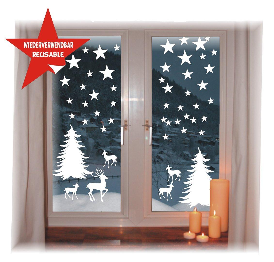 Fensterbild weihnachten wintersterne wiederverwendbar - Fensterdeko weihnachten kinder ...